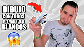 DIBUJO CON TODOS MIS MATERIALES DE COLOR BLANCO !! Marcadores, Lapices, Acuarelas, etc HaroldArtist