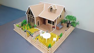 How To Make A Simple House From Cardboard With Beautiful Backyard - Popsicle Stick House