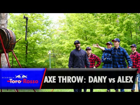 Daniil Kvyat vs Alex Albon - Axe Throwing Competition