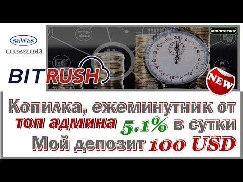 BitRush - Копилка, ежеминутник от топ админа. 5.1% в сутки. Обзор. Мой депозит 100 $, 6 Февраля 2019