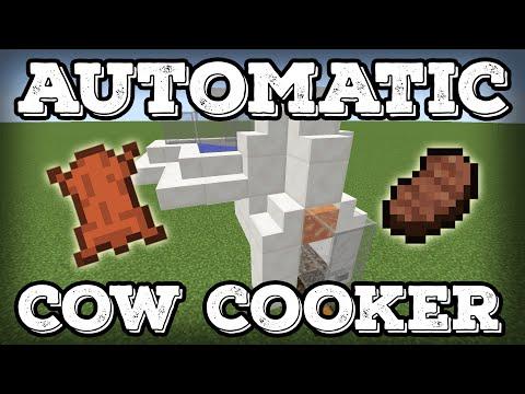 Minecraft Tutorial - Automatic Cow Cooker 2.0 - Leather Farm - Steak Farm - Compact(Minecraft 1.12+)
