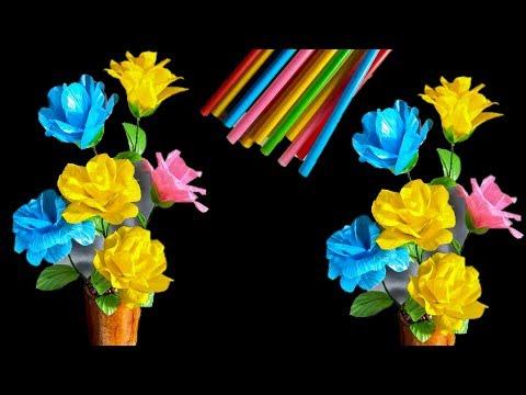 bunga mawar dari sedotan kreatif | how to make rose with straw