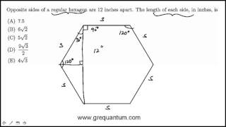 Regular Hexagon And Right Triangles: GRE Math Practice Question#49