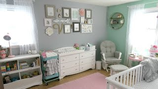 Baby Girl Nursery Tour! 🌸 Animal Woodland Theme | Pink Mint Gray & White