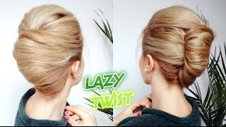 EASY LAZY HAIRSTYLE QUICK FRENCH TWIST BUN UPDO | Awesome Hairstyles