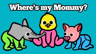 Baby Find Mom Animals for Kids   Learn Names and Sounds Puzzle Animation Learning For Children