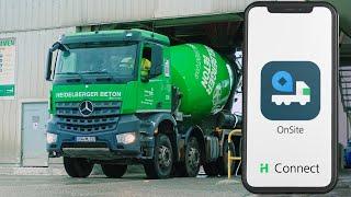 """Mit der App """"OnSite"""" haben Sie Baustellen und Beton-Bestellungen immer auf einen Blick auf Ihrem Smartphone!"""