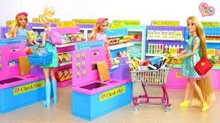 I Love to Shop Supermarket Barbie Grocery Shopping Toko kelontong Barbie Puppe Supermarkt