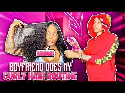 BOYFRIEND DOES MY CURLY HAIR ROUTINE (EXTREMELY FUNNY) | FT. BEAUTY FOREVER HAIR!!!