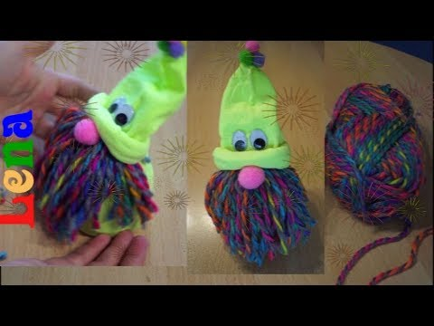 Regenbogen Socken Wichtel basteln - How to make Rainbow Sock Gnome DIY - Гном из носка без шитья
