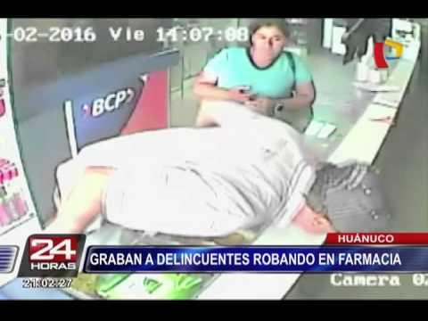 Huánuco: cámaras de seguridad registran robo de 5 mil soles en farmacia