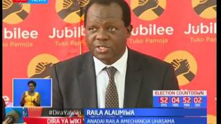 Chama cha Jubilee chalaumu mgombea urais Raila Odinga kuchangia uhasama nchini