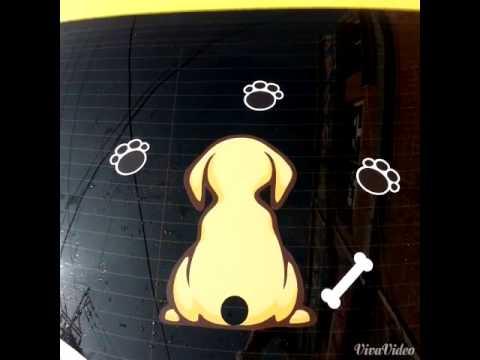 Aufkleber Sticker Gelb Hund Für Auto Heckscheibe und Heck Scheibenwischer