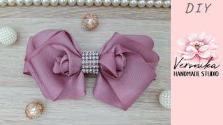 🎀🌹Бантик с розами из репсовой ленты 4 см 🎀🌹DIY Ribbon bow with rose Tutorial 🎀🌹