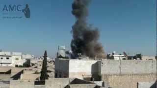 preview picture of video 'الباب : الصور الأولية لقصف الطيران للباب 19/10/2012'