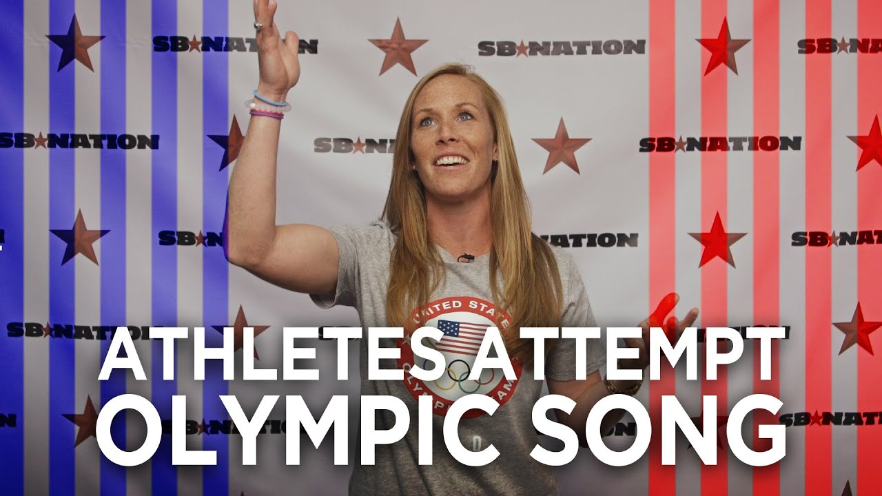Olympians TRY to sing the Olympic theme song 😂    Rio Olympics 2016 thumbnail