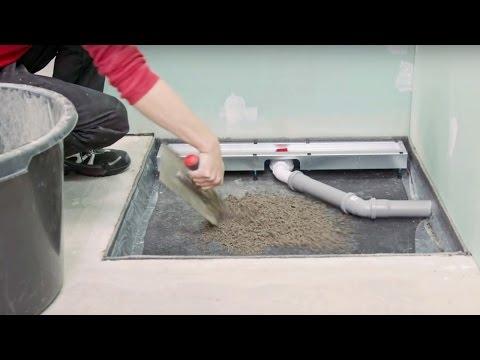 Duschrinne mit Montagefüßen einbauen