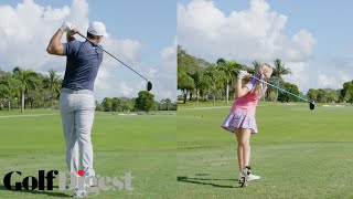 Golf Swing, Watch 10-Year-Old Girl Beat Brooks Koepka