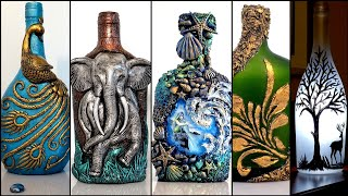 5 Bottle Art Ideas/Bottle Decoration/Wine Bottle Craft/art And Craft