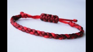 How To Make A 3 Strand Flat Braid Sliding Knot Friendship Bracelet- Satin Cord/Micro Cord