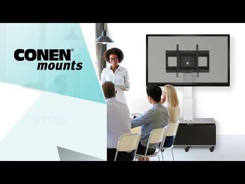 Höhenverstellbarer Displayständer mit Unterschrank und Anschlussfeld