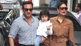 Kareena Kapoor POSES With Saif Ali Khan & Taimur Ali Khan For Media
