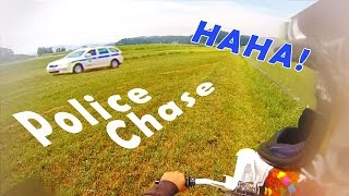 Dirtbike Police Chase - Guy Crashes In Ditch [HD]