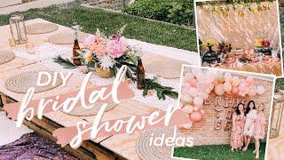 Backyard Bridal Shower Decor And DIY Ideas | Boho Pallet Table, Balloon Arch, & Backdrops