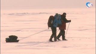 Новгородские лыжники за сутки преодолели около 40 км по озеру Ильмень