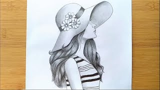How To Draw A Girl With Hat For BEGINNERS - Step By Step || Pencil Sketch