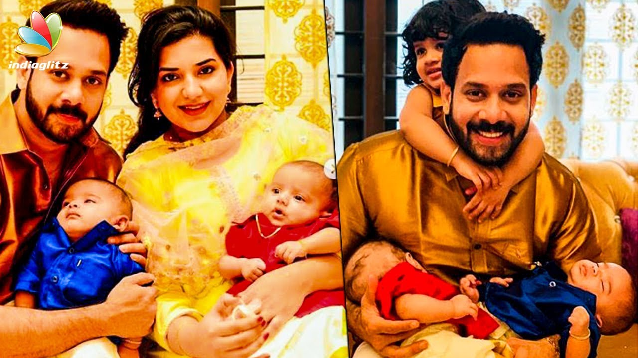 CUTE FAMILY: Actor Bharaths twin babies | Hot Tamil Cinema News