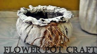 Тканевый бетонный цветочный горшок, сделанный-2, легкий и интересный метод