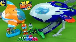 PJ Masks VS Top Wing Toys Catboy Super Moon Adventure HQ Rocket ship Swift Rescue Toy Video 2