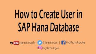 How to Create User in SAP Hana Database | SAP Hana User Creation | Create user in SAP Hana