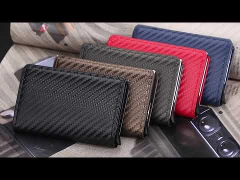 Кардхолдер кредитница с алюминиевым отсеком для RFID защиты на 8 кредитных карт Baellerry карбон (ВY-25204) Video #1