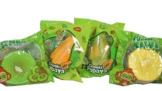 Cheeki Papaya and Jumbo Kiwi Fruit Squishies Unboxing Toy Review