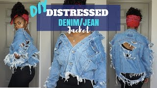 DIY | POPPIN DISTRESSED DENIM/JEAN JACKET