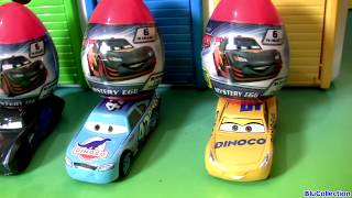 Disney Pixar Cars 3 Egg Surprise in Tayo the Little Bus Garage 카 3디즈니카 3 깜짝 계란 장난감 (꼬마버스 타요)