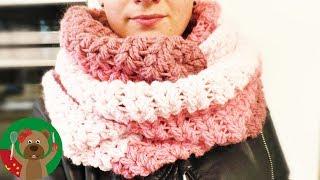 手工制作 V形钩针编织简单 超级保暖秋冬 三色渐变色温暖围巾围脖