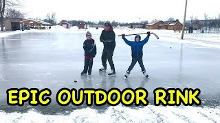 Kids HocKey Adventure To Find Perfect Sheet Of Outdoor Hockey Ice