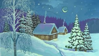 Смотреть онлайн Как нарисовать волшебную зиму гуашью