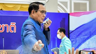 video: Watch: Thai PM sprays journalists with sanitiser to avoid questions on cabinet reshuffle