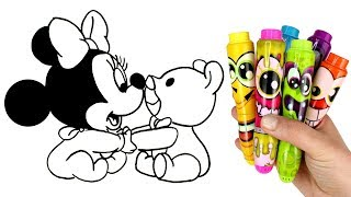 How to Draw Baby Minnie Mouse | Drawing for Kids & Mickey Mouse Play Doh Fun with Surprise Toys