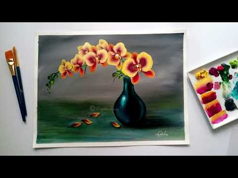 acrylic painting step by step on canvas by renjitha anoop