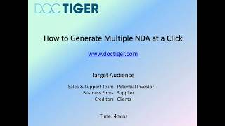How to generate Non Disclosure Agreement at a Click-Tutorial