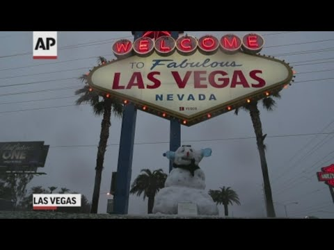 Las Vegas is getting a rare taste of winter weather, with significant snowfall across the metro area for the first time in a decade. Forecasters say the snow accumulation could reach 3 inches by Friday on the outskirts of the city. (Feb. 21)