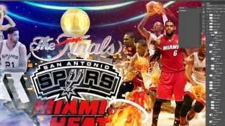 NBA Finals 2014 Spurs vs Heat Speed Digital Art  Photoshop cs6 Cinema 4d