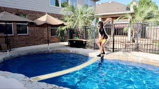 TRY NOT TO FALL into the POOL CHALLENGE!!