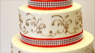 Three Tier Wedding Cake With Gold And Orange Ribbon - Wedding Cake Idea