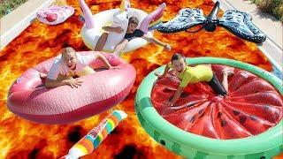 Ali Baba channel LAVA CHALLENGE HAVUZDA OYNUYOR in pool Fun kid video